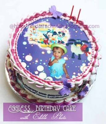 Birthday Cake with edible photo  large